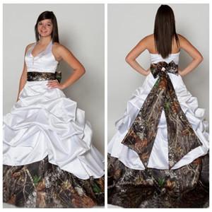 Halter Ball robe Camo robes de mariée en satin drapé avec arc retour robes de mariée ruban de camouflage 2018 robe de mariée formelle, plus la taille
