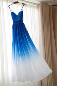 Degrade renk Uzun Kat Uzunluk Gelinlik Modelleri Spagetti Sapanlar Nedime Örgün Balo Parti Elbise Pileli Şifon Parti Elbisesi