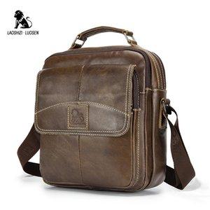LAOSHIZI LUOSEN Sacs Véritable épaule en cuir pour hommes Messenger Sac fourre-tout Petit Homme Vintage New Crossbody sac à main pour homme