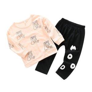 Ins Spring Autumn Infant Baby Girls Clothes Set Kids Letters Cotton Tops T-shirt + Pants 2pcs Girl Sets Children Outfits W113