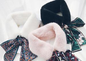 Leopar- baskı eşarp peluş eşarp kış sıcak kalınlaşma sonbahar kış eşarp imitasyon kürk + şifon yaka bayan