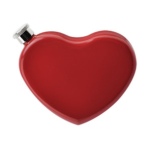 4.4OZ Stainless Steel Whiskey Vodka Bole Painted Red Heart Shape Small Hip Flask Valentine's Day Portable Wine Pot Drink Ware