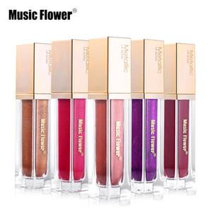 8 Renk Müzik Çiçek Marka Dudaklar Makyaj Metalik Sıvı Ruj Su Geçirmez Pırıltılı Renk Dudak Parlatıcısı Uzun ömürlü Nemlendirici