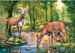 Diamante bordados animais cervos floresta lago diy pintura diamante kit ponto cruz resina completa rodada diamante mosaico decoração de casa presente yx1971