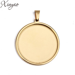 XINYAO 5pcs 20 25 30 35 40mm Gold Silver Color Stainless Steel Round Necklace Pendant Tray Cabochon Base Setting for DIY Jewelry