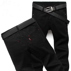 2017 Jeans Erkekler Pantolon Yeni Moda Dört Sezon Erkekler Kot Ince Düz Pantolon Siyah Renk