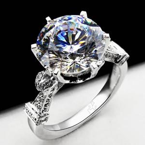 Kadınlar için muhteşem 5 ct Nişan Yüzüğü Gümüş Takı 18 K Beyaz Altın Kaplama Hiçbir Solmaya Yüzük Yuvarlak SONA Sentetik Elmas Yüzük