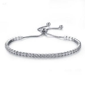Argent Plaqué Bracelets Plein cristal de diamant de la chaîne Fit pandora Bracelet femme strass Femme cadeau BR002
