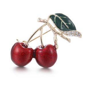 Erstaunliche Goldfarbe Alloy Red Cherry Brosche Atemberaubende Klar Diamante Emaille Obst Broach Pin Frauen Schal Corsage Anstecknadel