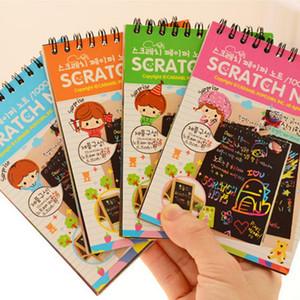 Scratch Kazıma Kitap Sanat Sihirli Boyama Kağıt Çizim Sopa Çocuk Eğitim Oyuncak