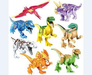 Çocuk eğitici bulmaca yapı taşları erken çocukluk oyuncaklar Dinozor Dünya Jurassic World Park Tuğla Blokları 8 modeli