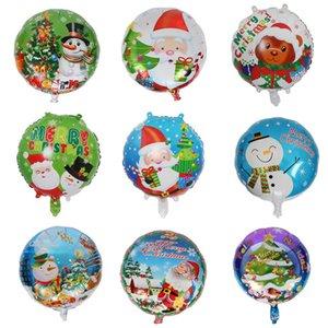 18 inch Round Christmas Inflatable Balloon Festival Decorative Aluminum Foil Balloon Santa Claus snowman Christmas Tree Design