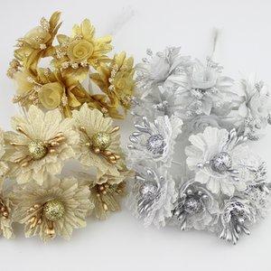 Fiore festivo d'argento dorato dorato dello stame 60pcs / lot per il mazzo dei fiori / fiore della decorazione della festa nuziale dell'album per ritagli