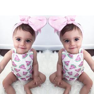 Los bebés de los mamelucos 2018 del nuevo verano de la sandía Impreso Romper + rosa diadema 2 piezas Conjunto INS infantil Los niños pequeños Mono Trajes niños ropa
