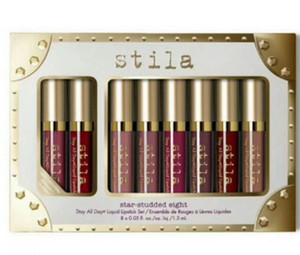 العلامة التجارية Stila Star Studded 8pcs أحمر شفاه سائل ملمع شفاه مجموعة Stay All Days لونغ لاستنج كريم