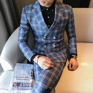 Veste de costume à carreaux 3 pièces tsuit hommes 3XL 4XL robe de mariée bleu gris kaki costume auto-cultivation des hommes