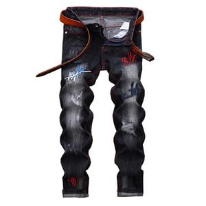 EL BARCO Ripped Holes Embroidery Cotton Men Jeans Autumn Scratched Hip Hop Black Male Denim Pants Slim Streetwear Blue Trousers