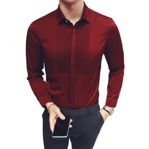2018 New Slim Fit Hommes Chemises De Mariage Manches Longues Chemise De Tuxedo Hommes Mode Chemise De Robe D'honneur Garçon et Groom Chemises 5XL