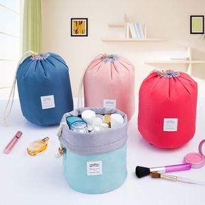 Coreano elegante grande capacità a forma di botte Nylon Lavata Organizzatore Viaggi Dresser Pouch cosmetico di trucco del sacchetto di immagazzinaggio per le donne
