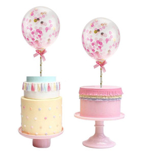 5 pulgadas brillantes globos de confeti Cake Topper Cupcake Topper decoración del partido rosa azul Golden Rainbow DEC376