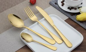 High-grade Gold Cutlery spoon fork knife tea spoon Matte Gold Stainless Steel Food Silverware Dinnerware Utensil