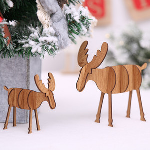 1PC Christmas Decoration Wooden Crafts Elk Deer Pendants Ornaments DIY Ornaments Xmas Tree Kid Gift Christmas Party Decoration