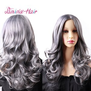 PAMINA hair Cosplay oneTone Ombre Color Curly Wavy Wigs Heat Resistat Grandma gray Full Head Wigs for women