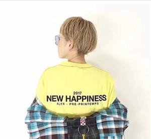 High Street AL Studio модный бренд мужская летняя футболка новое счастье Письмо печати хип-хоп тройники желтый черный Мужчины Женщины топы одежда