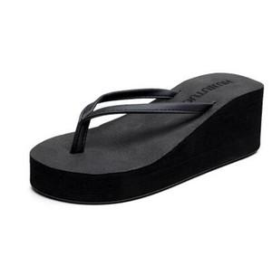 2017 haut talon tongs femme été coréenne de mode épaisse pente avec des sandales étanches Taiwan chaussures de plage anti-dérapant flip-flop tongs