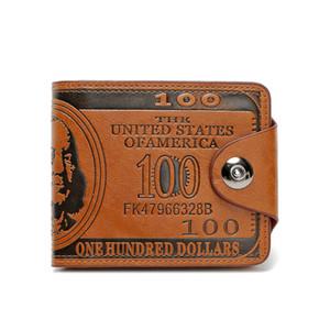 Carteira de couro dos homens de moda de fechamento de fixação Slim Curto bolso carteiras titular do cartão dinheiro organizador clássico - preto e marrom