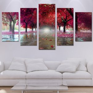 Dipinti su tela Living Room Decor 5 pezzi Red Trees Immagini di paesaggi Wall Art Stampe HD Decidue Street Poster Painting