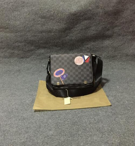 2020 Marque Designer Hommes Véritable sac à main en cuir noir Porte-documents pour ordinateur portable Sac à bandoulière Messenger Bag 30CM