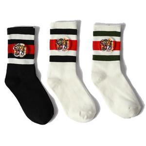 Tiger bordado calcetines marca de moda transpirable calcetines deportivos 3 rayas calcetines casuales para mujer medias deportivas Muti colores