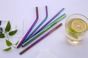 Coloré Réutilisable Or Rose Or Noir Arc-En-Couleur Couleur Acier Inoxydable 304 Bent Droite Pailles à boire pour pour 900ML Tasse Livraison gratuite
