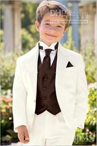 Dos botones más nuevo desgaste formal de Marfil Boy esmoquin muesca solapa niños del juego Trajes de boda Prom Kid (chaqueta + pantalones + chaleco + tie) 613