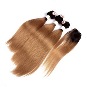 Бразильский Ombre Человек 3 волос Пучков с верхней крышкой Straight 1B / 30 Medium Auburn человек ткет волос 1.5 дюймов Круглого Шнурок Закрытие