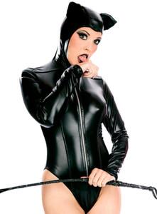 2018 Nueva Lencería Sexy Hot Black Faux Latex Mujeres Teddy Cosplay Uniforme del Juego de Sexo Del Sexo Roleplay Clubwear Adultos Disfraces Eróticos