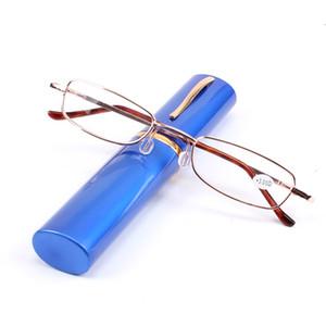 المعادن مع أنبوب حالة الأزياء ألوان النظارات أضعاف الرجال النساء نظارات القراءة شفافة للجنسين +1.0 إلى +4.0