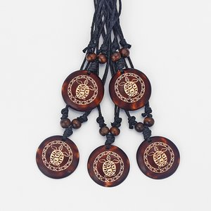 DropShipping 6pcs Brown Faux Yark Bone Carved Tortoise Turtles Charms Pendant Necklace Resin Jewellery