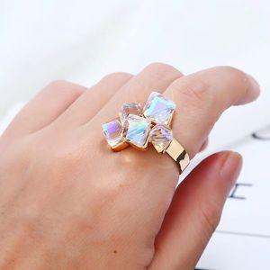 Autriche Amethyst Ring Magic cube cluster index bagues pour femmes quatre couleurs blanc violet vert bleu ouverture réglable