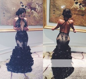 Sexy Mermaid Black Lace Evening Dresses Sexy Keyhole Neck Backless Flouncing Ruffles Prom Party Gowns Arabic Women Pageant Runway