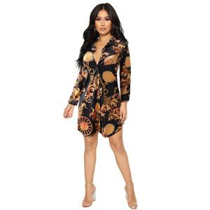 Envío gratis mujeres Sexy Stand Collar oro cadena de impresión de la camisa vestidos Casual Slim Fit Mini vestido Club Party Wear vestido XXXL Plus