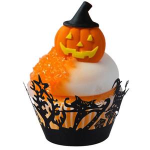 50 Pz / lotto Halloween Carta Cupcake Wrapper Laser Cut Pizzo Openwork Cupcake Toppers Bambini Favori Decorazione Del Partito Cake Topper