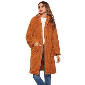 Vestido de invierno, lana marrón, bolsillo grande, abrigo de felpa A64.