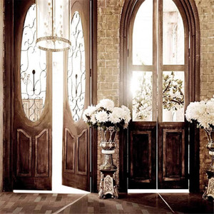 Interior Room Vinyl Photography Backdrops Doors Printed Chandeliers Flowers Retro Vintage Style Wedding Photo Backgrounds for Studio