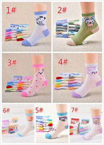 2018 Toptan çocuk Bahar ve Yaz Örgü Ince Tüp Çorap Karikatür Erkek ve Kız Çorap Bebek Çorap 7 Tasarımlar 3-6 T 14 cm