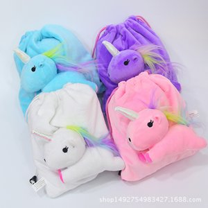 2018 Nueva Historieta Unicornio Doll Attack Plush Rope Sack Unicorn Crystal Crystal Superflexible Hair Contractile Bag Bundle Pocket Kid's Backpack 21 * 20cm