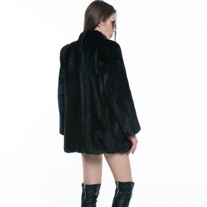 Kış Sıcak Coat Siyah Sahte Kürk Uzun Kollu Lüks Fox Kürk Palto Kadınlar Moda Yapay Kürk Palto