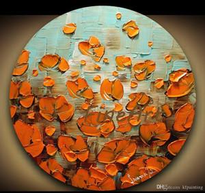 Peint à la main abstrait moderne couteau à palette fleur de pavot peinture à l'huile idées de toile cadeau unique Kungfu Art