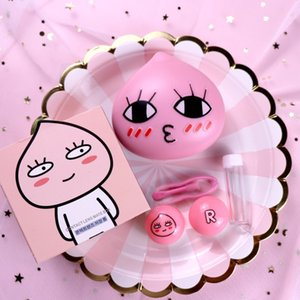 Lovely pink colored eye contact lens case L ine with Mirror glasses case contact lens box L018